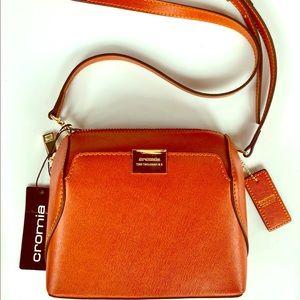 NWT Cromia Brown Leather Crossbody Satchel